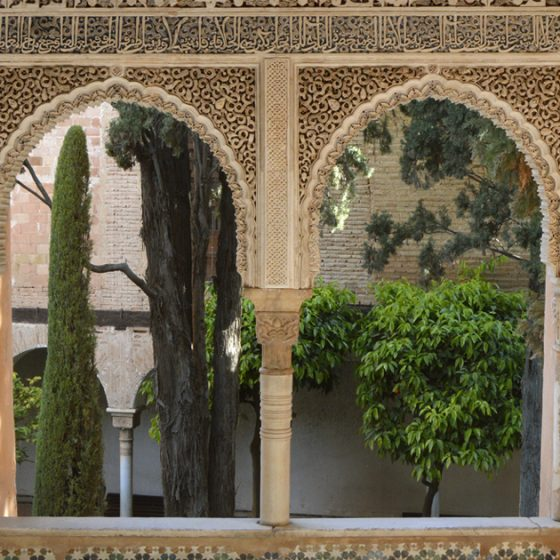 Alhambra view from a window in Nasrid Palace inner courtyard