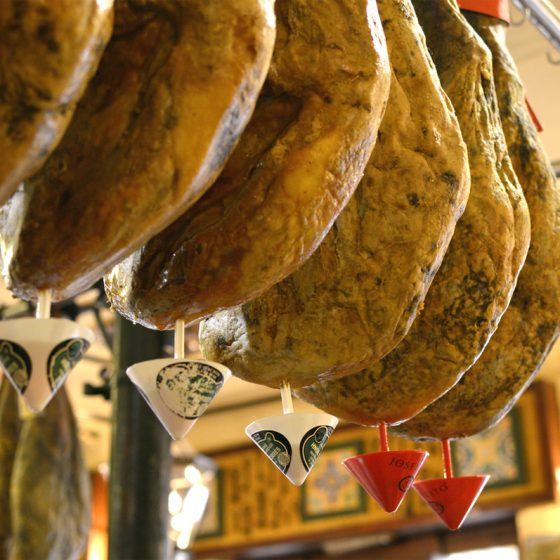 Ham hanging in a Tapas Bar