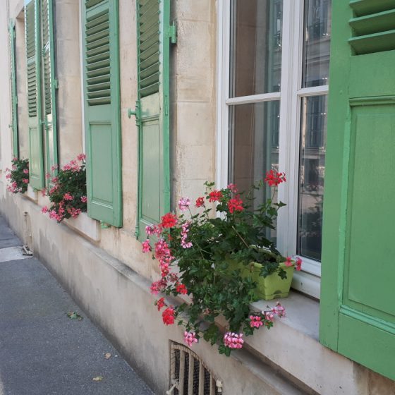 Green painted shutters in Laon street