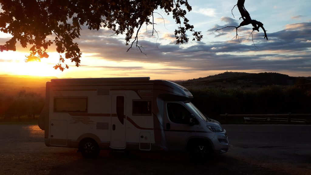 Sun going down on Buzz in Tuscany