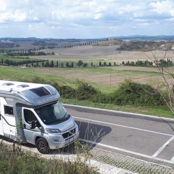 Buzz Laika motorhome in the road to Asciano