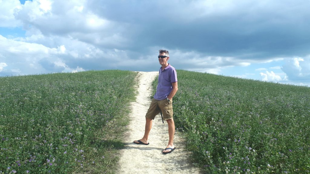 Standing on the Tuscan hillside