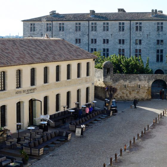 Aigues-Mortes _ Rempartes hotel from wall ramparts