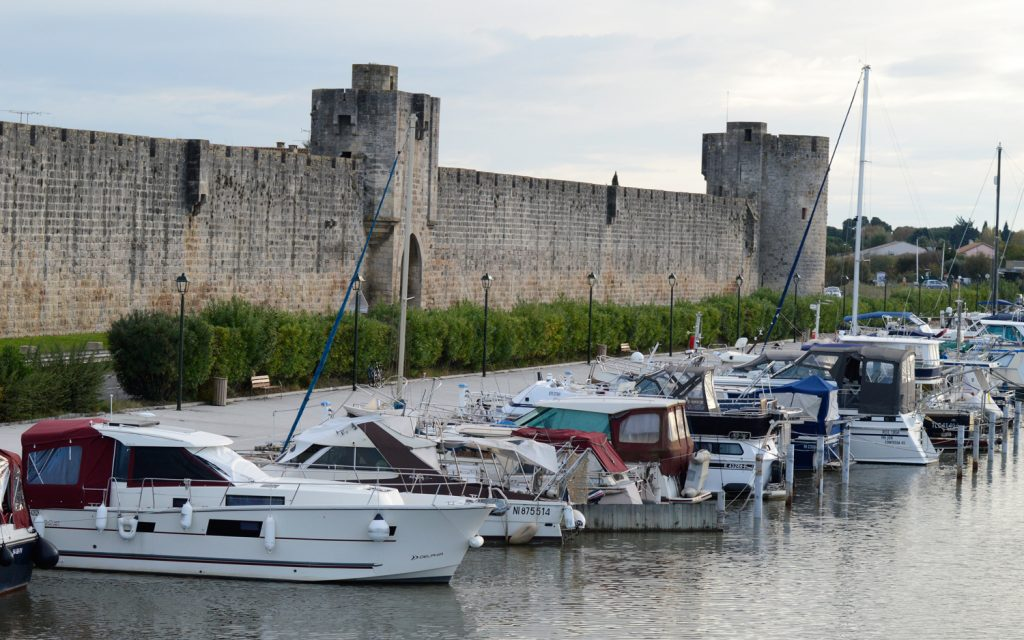 Aigues-Mortes -West wall of the ramparts overlooking pleasure harbour