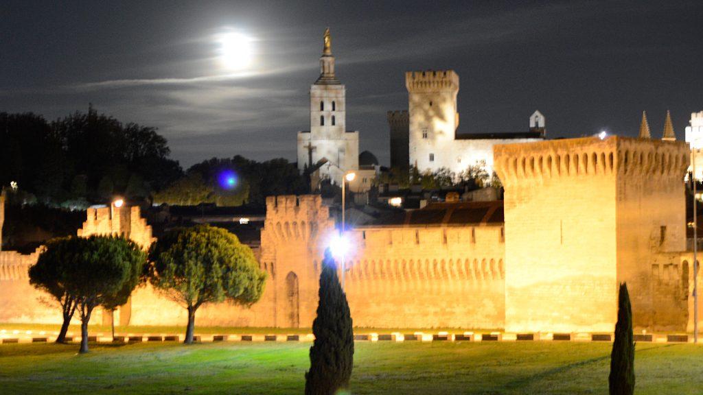 Avignon - City Walland Pont Des Palais at night