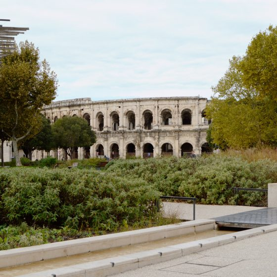 Nimes - Roman Arena from Esplanade Charles de Gaule