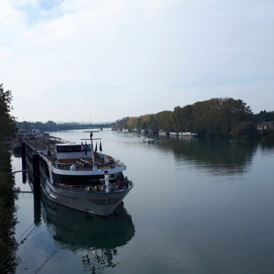 Leisure cruise boats on the Rhone River in Avignon