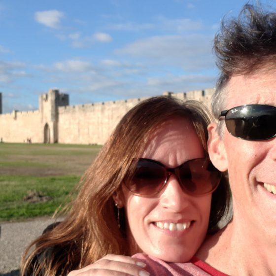 Posing outside the walls of Aigues-Mortes