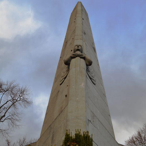 Liege Obelisk war memorial at the top of Montagne de Bueren