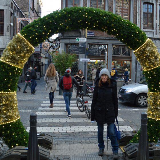 Liege Market entrance over a zebra crossing