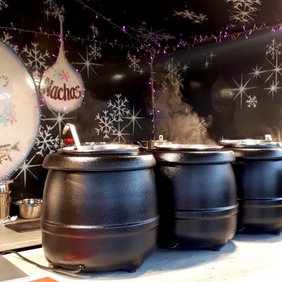 Big steaming pots of Vin Chaud