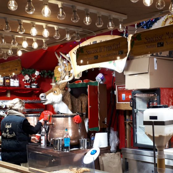 Hot food stall with a reindeer 'cuckoo' clock