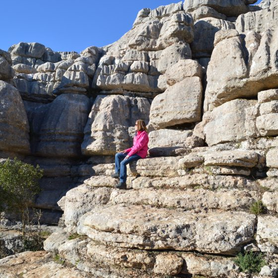 El Torcal - Marcella admires the stunning surroundings