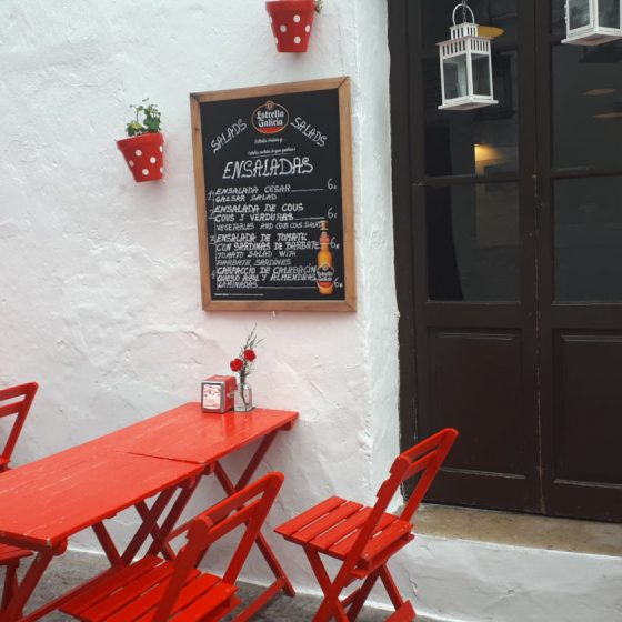 Bright cafe adding a splash of colour to the Pueblo Blanco of Arcos de la Frontera