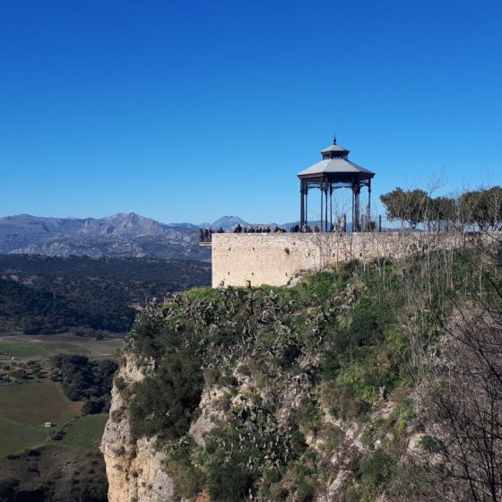 The bandstand at Ronda with beautiful views across the valley