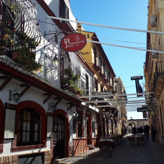 One of Ronda's attractive streets lined with cafes