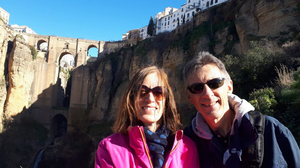 Our turn for selfies by the Ronda bridge
