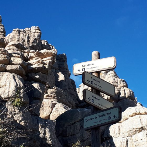 Walking path and viewpoint signs in the El Torcal park