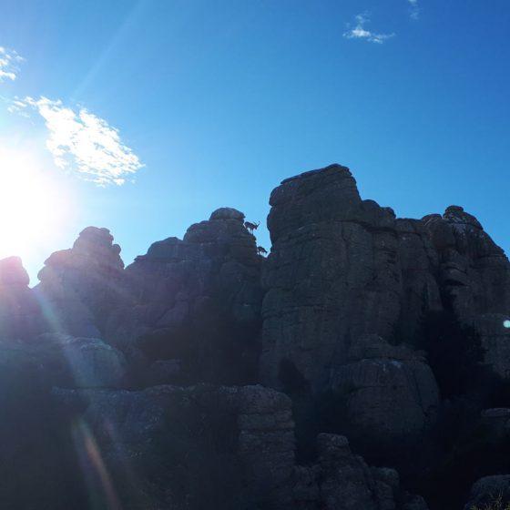 Sun shining through the rocks at El Torcal