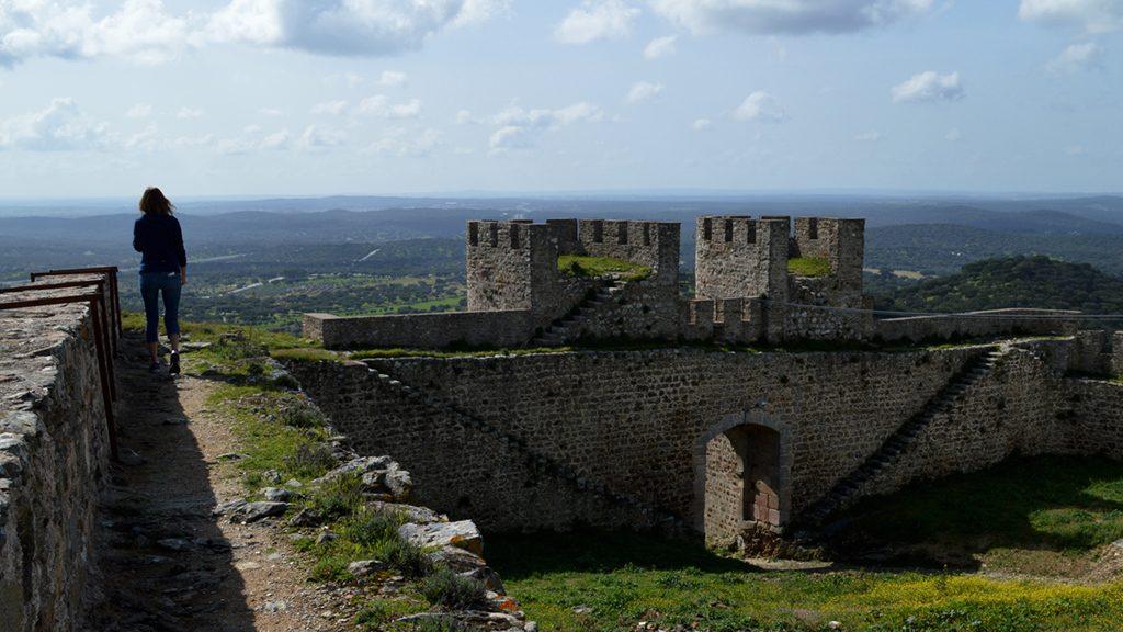 Evora Monte - Marcella on the castle wall feature