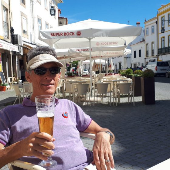 A birthday beer in the Portugese sun