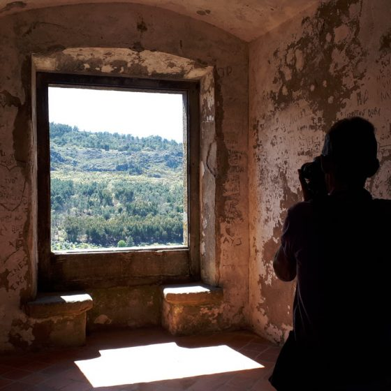 A photo from the inside of the castle looking out