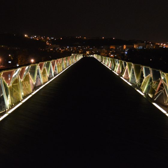 Coimbra - going back at night on footbridge