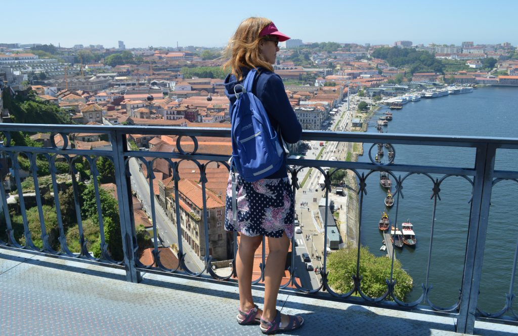 Porto - Marcella admires the view from Ponte Luis 1