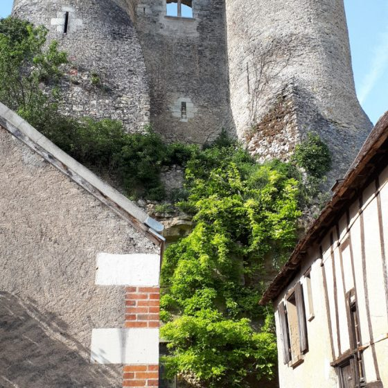 Old castle ruins towering up above Montresor's main street