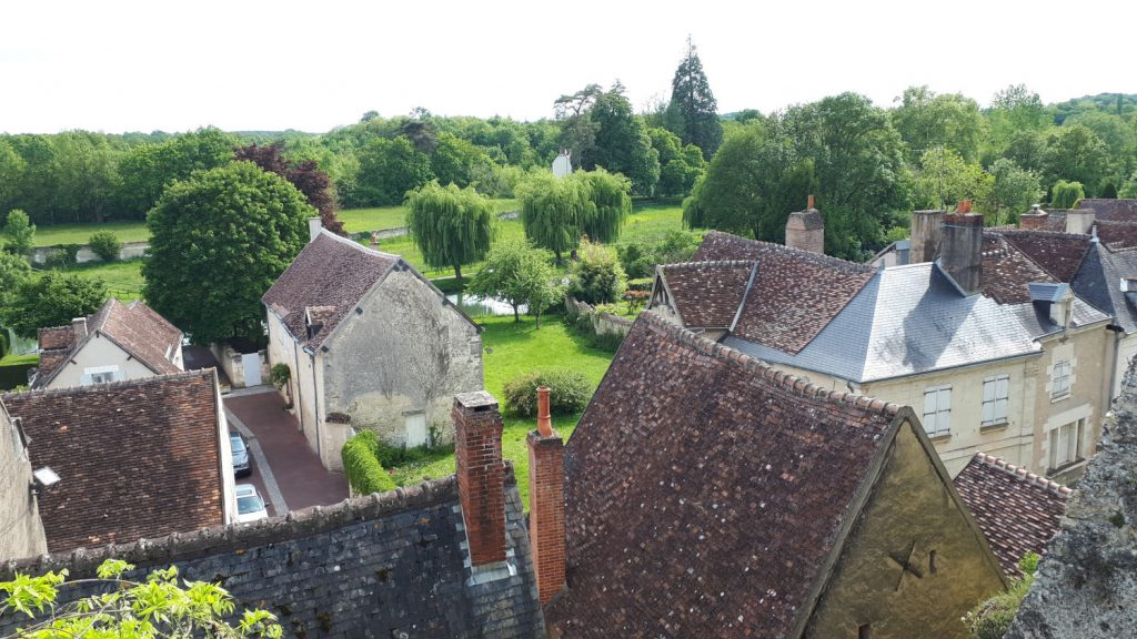 Views from the walls of the chateau over the green area of Montresor