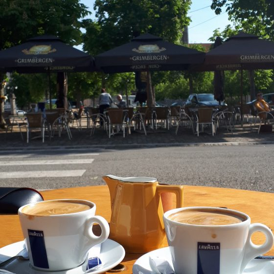 Enjoying a coffee in St Savin's town square