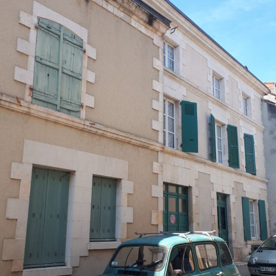Green shutters, retro green car - so French!