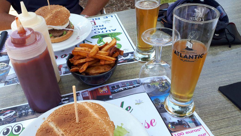 A big burger, fries and a beer - yum!