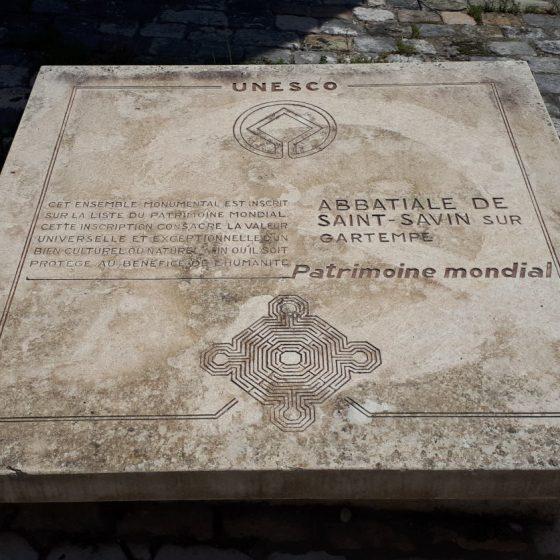 UNESCO World Heritage plaqueat St Savin Abbey