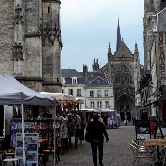 Vendome street, church and market stalls