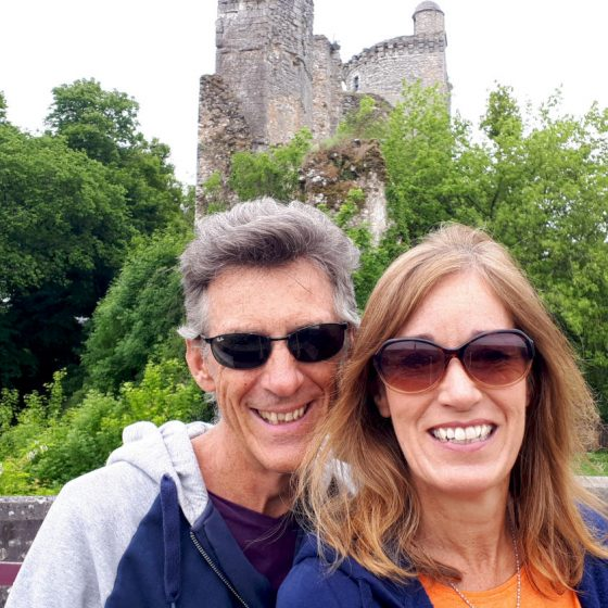 The ruins of Vendome castle and two cheesy grins