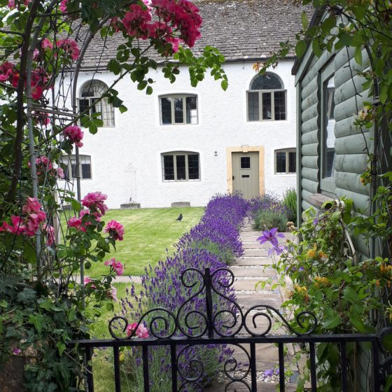 We spotted this lovely house with a pathway lined with lavender.