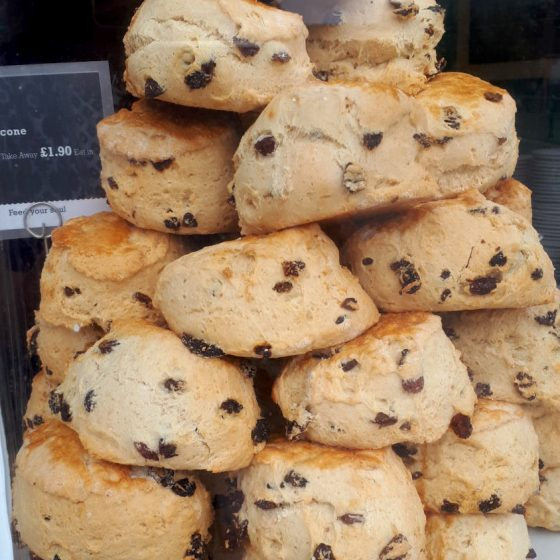 A tower of freshly baked scones with our names on!