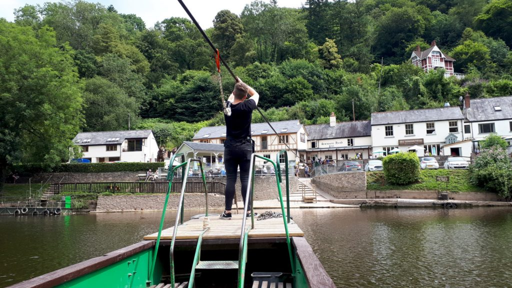 The hand ferry at Symonds Yat leading straight to the pub!