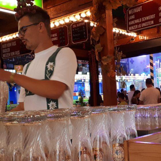 The barman all dressed up in his fake lederhosen T-shirt - nice!