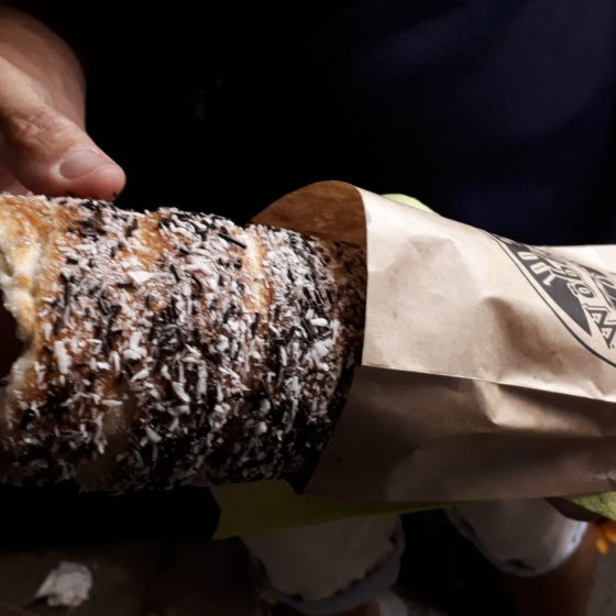 Our freshly baked chimney cake, soft and steaming, yum!