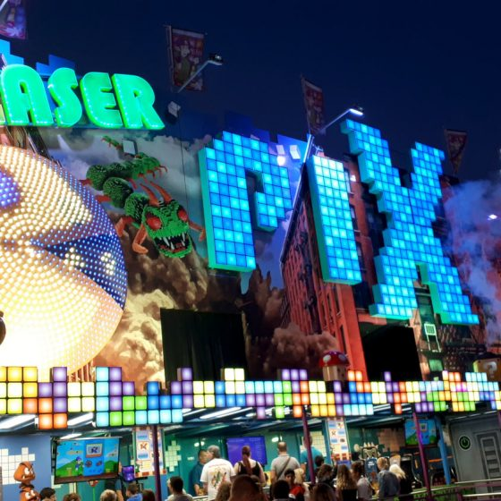 A laser game, one of many noisy, bright, flashy attractions on offer