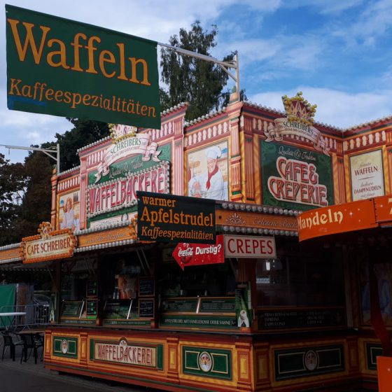 All quiet in the morning at this Waffle and Apfelstrudel stand