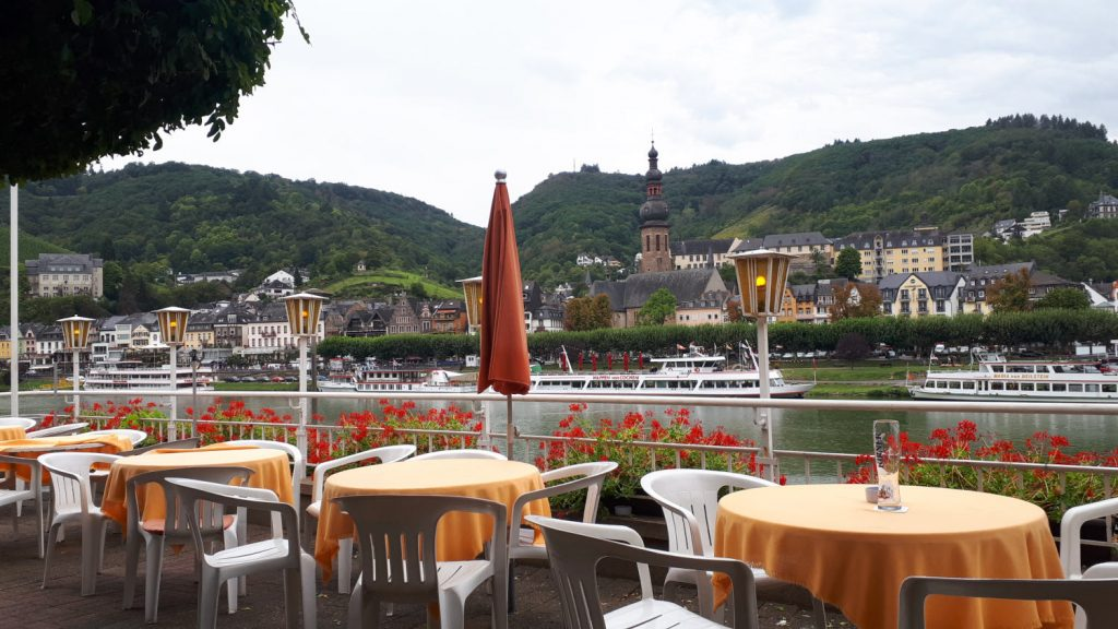Our riverside drinking spot looking back over the river to Cochem old town
