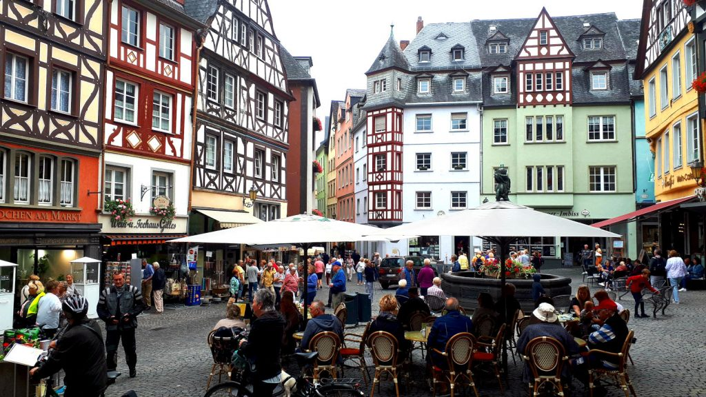 Cochem town square - a riot of colour and throngs of people