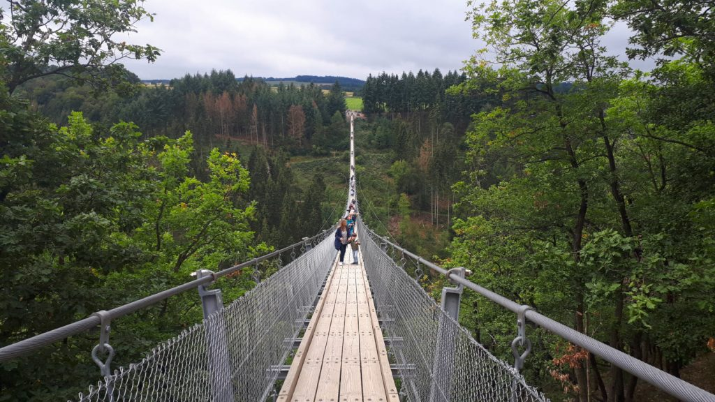 The wobbly walkway that is the Geierlay Suspension Bridge