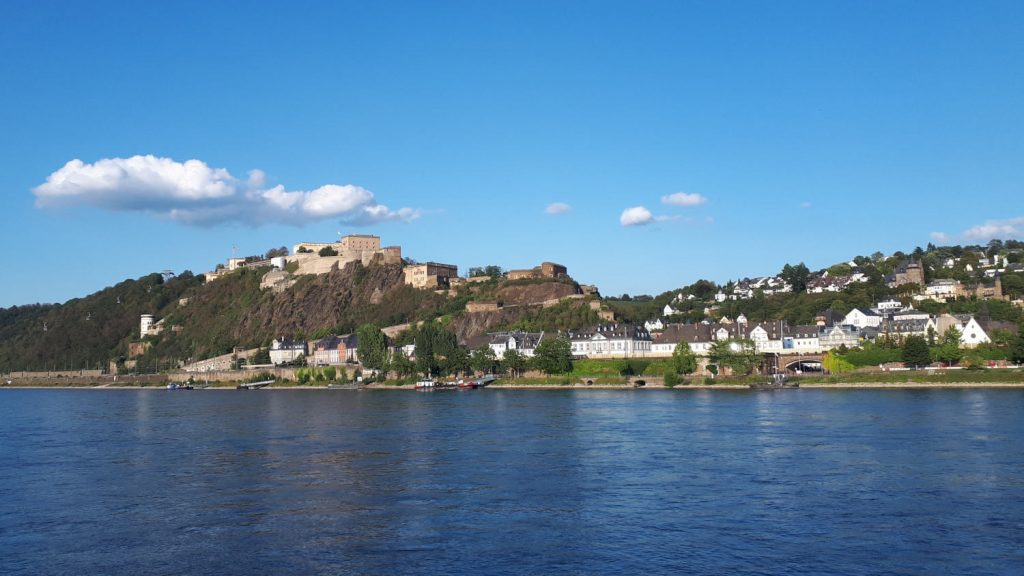 Koblenz and the imposing fortress on the hill above the Rhine
