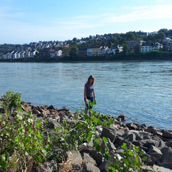 Morning walk in the idyllic setting of the Rhine