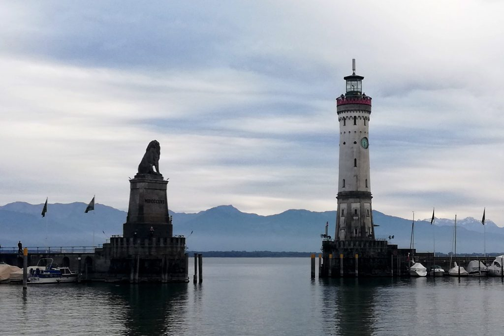 Lindau harbour lion of bavaria