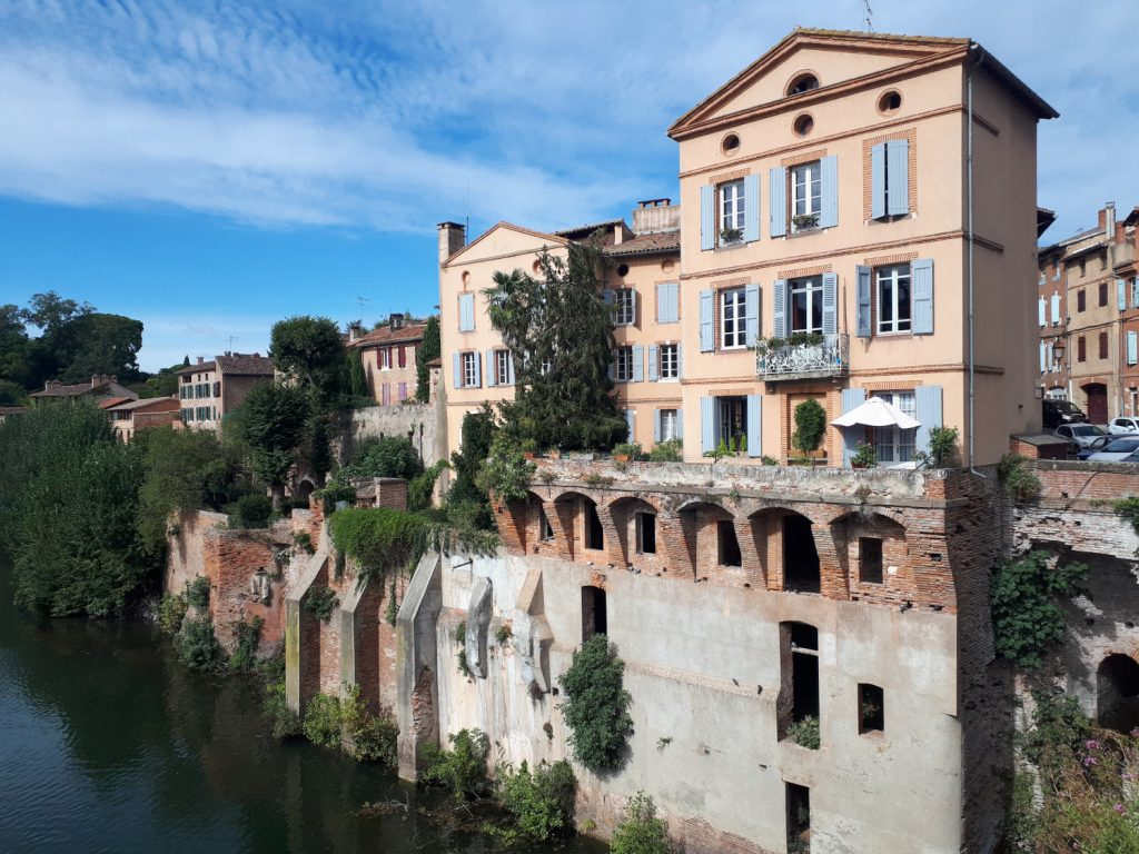 The spectacular riverside setting of the old town of Albi on the river Tarn